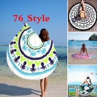 Wholesale Tablecloths Tassels - Round Mandala Beach Towel Tassel Tapestry Hippie Boho Tablecloth Bohemian Shawl Sunbath Bikini Wrap Yoga Mat Picnic Blanket 76 Style WX-P17