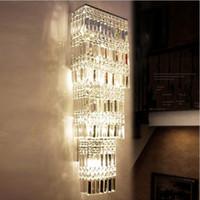 große wandleuchten großhandel-Lobby Luxus Kristall Wandleuchte LED Hotel Projekt Große Kristall Wandleuchte Wohnzimmer Wandleuchte Villen Penthouse Boden Flur Beleuchtung LLFA