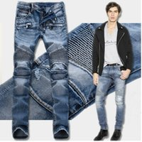 Wholesale Painted White Jeans - Fashion Men's foreign trade light blue   black jeans pants motorcycle biker men washing to do the old fold Trousers Casual Runway Denim