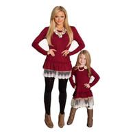dantel etek maçı toptan satış-Anne ve kızı elbise aile eşleştirme kız için Noel elbiseler dantel etek bebek giyim kız giysileri düşmek çocuk moda QZZW021