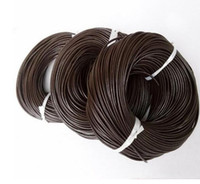 Wholesale Line Leather Cord - 100merters lot 1mm DIy jewelry cord black brown beige color Genuine Leather rope Diy jewelry accessories environmental round leather line