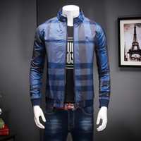 Wholesale Striped Color Matching - New 2017 spring men's clothing outerwear autumn with hood plaid jacket slim casual all-match jacket outerwear male