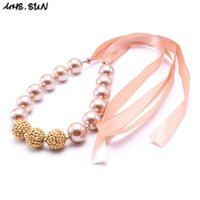 Wholesale Wholesale Beaded Ties - MHS.SUN Gold Color Ribbon Kid Chunky Necklace DIY Tied Ribbon Bubblegum Bead Chunky Necklace Children Jewelry For Toddler Girls