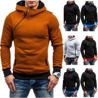 Wholesale Mens Oblique Hoodie - 2017 Hoodie Oblique Zipper Solid Color Hoodies Men Fashion Tracksuit Male Sweatshirt Hoody Mens Purpose Tour XXL