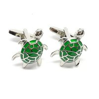 Wholesale Green Man Cufflinks - french style 2017 new model funny animal theme green tortoise suit shirt cufflinks for business men