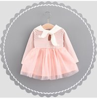 Wholesale Striped Tulle - Girls Bow Tie Stripe Tulle Dresses Back Cartoon Collar 2017 Fall Kids Boutique Clothing Korean Baby Girls Long Sleeves Tutu Dresses