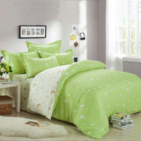 Wholesale Doona Green King - Wholesale- Summer Fashion Stars King Queen Full Size 3 4 Pcs Bedding Set Doona duvet Cover Flat Sheet Pillow Cases Kit green