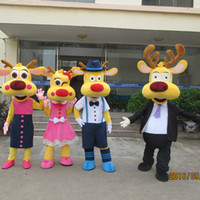 Wholesale Wholesale Plus Size Mascot Costumes - High quality Adult Brown Deer Mascot Costume Green Christmas Elk Family Costume Christmas Birthday Party Dress Masoct Costume