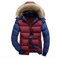 Wholesale Winter Hoodies Duck Down - Wholesale- 2016 New Men's Winter Jacket Thick Warm Hooded Coats Casual Down Cotton Jackets Fashion Hoodies Fur Stand Brand Clothing LA074