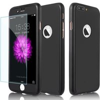 Wholesale Screen Protect Galaxy - For iPhone X 360 Degree Protect Case Cover with Tempered Glass Screen Protector Full Body Cover For iPhone 7 8 Plus Galaxy S8 Plus J7 prime