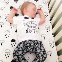 Wholesale Ghost Suit - Halloween Costume Baby Boy Clothing Set Children Nightmare T-Shirt Ghost Skull Pant Cotton Kids Clothes Suit Outfit 70 80 90 100 Tracksuits
