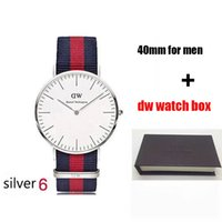 Wholesale famous silver - 2018 famous brand Daniel women mens Wellington's WATCHes fashion nylon strap style 40mm silver mens watches with gift box relojes