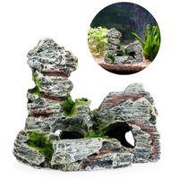 ingrosso ornamenti di albero della resina-Mountain View Aquarium Decoration Moss Tree House Resina Cave Fish Tank Ornament Decoration Landscap Decorativo