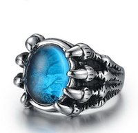 Wholesale Gothic Wedding Ring Men - Vintage Gothic Jewelry Unique design Stainless steel Ring men luxury Rhinestone anel masculino Blue Red Black color bague rings