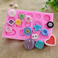 Wholesale Fondant Button - Wholesale- Buttons Flower Silicone Fondant Mold Cake Decorating Baking Mould Sugarcraft DIY ZH760