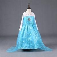 ropa de diamante azul al por mayor-Niños Niñas Vestidos de Fiebre Cosplay Vestidos de Fiesta Diamante Vestido de Copo de nieve Azul Holloween XMAS Ropa PX-A09