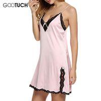 Wholesale Summer Nightgowns For Women - Women Sexy Nightgown Sleeveless Sleepwear V-Neck Nighty Lace Nightwear Slit Nightdress Sleepwear For Summer Plus Size 6XL G 2539