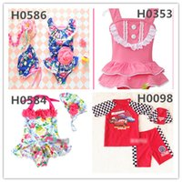 Wholesale Swimsuit Top Cute - 21 Colors Adorable Summer Boys Girls Swimsuits Kids Swim Dress Or Tops+Pants Set Colorful Swimwear Boys Girls Cute Dress Beachwear Whloesale
