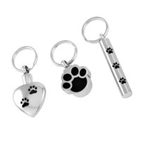 Wholesale Stainless Steel Necklace Charm Set - IJD8309 3PCS Set High Quality Stainless Steel Cremation Key Chain Paw Engraved Pet Ashes Keepsake Urn Key Chain Memory Jewelry
