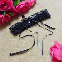 Wholesale Black Ribbon Ring - edding Party Bride Favors Wedding Garter Lace Bridal Garter Sweet & Simple Garter Black White Legs Rings Lace with Elastic