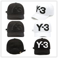 Wholesale baseball caps embroidered logo - High Quality New Y-3 Dad Hat Big Bold Embroidered Logo Baseball Cap Adjustable Strapback Hats Y3