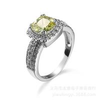 sz6 ring großhandel-Einfache 18 Karat Weißgold Überzogene Olive Zirkon Hochzeitsgeschenk Liebhaber Fingerring Sz6-10