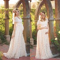 Wholesale Long Maternity Summer Dresses Bohemian - Boho Summer Lace Wedding Dresses 2017 Romantic Garden Gardens Bohemian Cap Sleeves Long Bridal Gowns Maternity Plus Size Dresses