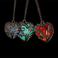 Wholesale Horn Shaped Pendants - 2017 hotsale Heart Shaped Pendant Necklace Heart Hollow Luminous Pendant Necklace for women LED Sweater Necklace