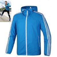 Wholesale Sports Wind Jackets - Brand fall thin wind runner Men sportswear jackets waterproof Men sports jacket Fashion zipper hoodie for men free shipping