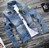 ingrosso lunghe giacche blu jean-Uomo Primavera New Jean Giacche Hip Hop Strappato Designer Denim blu cappotti maniche lunghe monopetto giacca