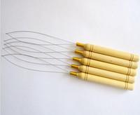 insan saç uzantısı 5adet toptan satış-5 Adet / grup İğne Döngü Çekerek Çekme Ahşap Saplı İğneler mikro boncuk için insan saç saç uzantıları araçları stokta