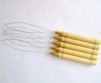 extensiones de cabello tirando de bucle al por mayor-5 Unids / lote Tirar de la Aguja Loop Threader Agujas de mango de madera para micro bolas de cabello humano extensiones de cabello herramientas en stock