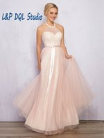 Wholesale Pleated Charmeuse - Summer Backless Bridesmaid Dresses Blush Tulle Lace Halter Sleeveless Long Bridesmaid Dresses Cheap 2017 New Arrival Free Shipping