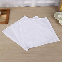 Wholesale White Washcloths - 100pcs lot Pure White Soft Cotton Towels Organic Baby Flannel Face Hand Embroidered Towel Washcloth Wipes 25x25cm