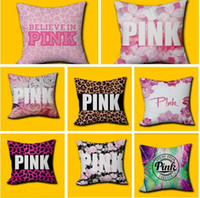 Wholesale Leopard Print Home Decor - Pink Pillow Cover VS Leopard Home Office Decor Cushion Cover Decorative Pillowcase Double-sided Printing dhl Pink Letter Free Shipping