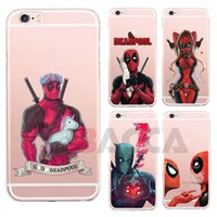 Wholesale Anime Marvel - Anime Marvel Soldier Deadpool Back Case For iPhone 6 6S Plus Case Marvel Comics Superhero Silicone Phone Cover Case For Samsung s8