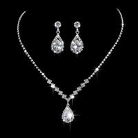 Wholesale Cheap Cubic Zirconia Earrings - Luxury Women Bridal Rhinestone Crystal Drop Necklace Earring For Wedding Dress 2017 Cheap Wedding Jewelry Sets Bridal Accessories