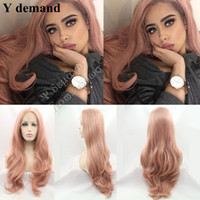 Wholesale Wigs Rose Red - Peach Red Wigs For Women Hairstyle Rose Gold Pastel Pink Wig Girls Synthetic Lace Front Wig With Heat Resistant Hot Sale Y demand