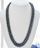 """Wholesale Peacock Freshwater Pearl Necklace - 50"""" 9mm peacock black round freshwater pearl necklace"""