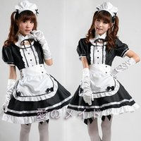 Wholesale French Halloween Costumes - Sexy French Maid Costume Sweet Gothic Lolita Dress Anime Cosplay Sissy Maid Uniform Plus Size Halloween Costumes For Women