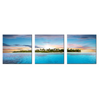 Wholesale pictures office walls - Scenic Island Canvas Wall Art Seascape Canvas Printed Picture for Home and Office Decoration 3 Panels