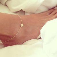 Wholesale Ankle Bracelet Heart - New Heart Female Anklets Barefoot Crochet Sandals Foot Jewelry Leg New Anklets On Foot Ankle Bracelets For Women Leg Chain