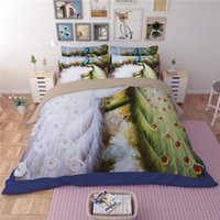 Wholesale Peacock Comforter Set Full - New White Green Peacocks Printing Bedding Sets Twin Full Queen King Size Fabric Cotton Bedclothes Duvet Covers Pillow Shams Comforter Animal
