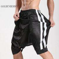 Wholesale Open Crotch Male - Wholesale-Brand men shorts culottes knee-length fashion Active shorts male open-crotch capris trousers man good quality