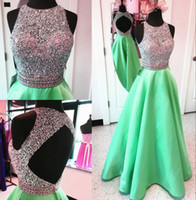Wholesale Dhgate Ball Gowns - Unique Keyhole Back Long Satin Prom Dresses Ball Gowns Sequins And Beaded o neck buy on dhgate prom dress