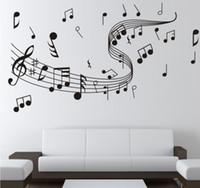 kaliteli duvar etiketleri toptan satış-Duvarlar Çıkartmaları Müzik Sembol Desen Duvar Paster Diy El Boyalı duvar kağıdı Sanat Dekorasyon Sticker Çıkartmaları Yatak Odası Yüksek Kalite 5lh A R
