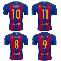 Wholesale Dress Boys Shirt - Barcelonaes shirt 17-18 adult boy soccer suit summer short-sleeved jacket 10 Messi 11 Nei Maer training suit game dress Messi player