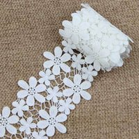 Wholesale Three Dimensional Cross Stitch Design - 2 Yards White Elegant Embroidery Lace Applique Embroidery Ornament Couture Designs S1091