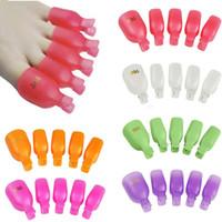Wholesale Toe Nail Art Wraps - 5Pcs Plastic Foot Toe Nail Art Soak Off Cap Clip UV Gel Polish Remover Wrap Tool