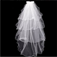 Wholesale Tulle Bow Veil - 2017 New Elegant Wedding Veil With Beads Bow 4 Layers White Ivory Wedding Accessories Wedding Dress Bridal Veils With Comb